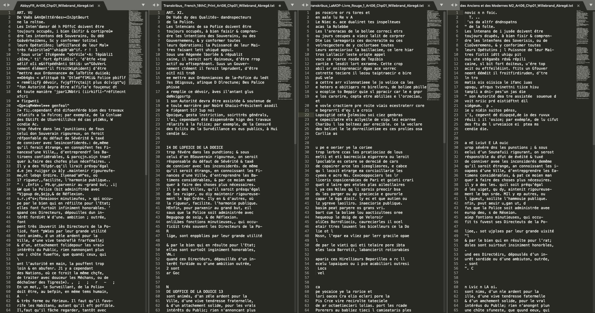 Comparison of OCR tools: 1) Abbyy FineReader (modern French), 2) Transkribus model French_18thC_Print, 3) Transkribus model LaMOP-Livre_Rouge_1, 4) Transkribus model Parallèle des Anciens et des Modernes M2